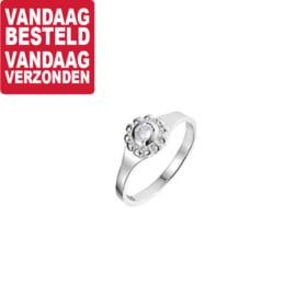 Zilveren Ring met Zirkonia Steentje | Ringmaat 15,5
