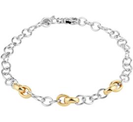 Draadschakel Armband van Zilver met Gouden Schakels