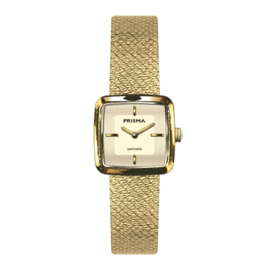 Prisma Dolce Square Dames Horloge – Goudkleur