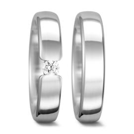 Basic Bolstaande Trouwringen Set met Diamant