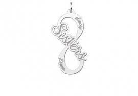 Names4ever Sisters Infinity Hanger van Zilver - Graveer Sieraad