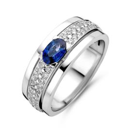 Excellent Jewelry Brede Witgouden Ring met Saffier en Briljanten