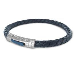Blauw Lederen Armband met Edelstaal van Frank 1967