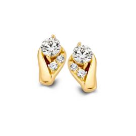 Excellent Jewelry Geelgouden Oorstekers met Meerdere Zirkonia's