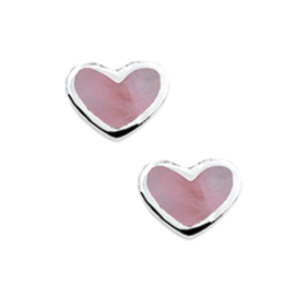 Roze Parelmoer Hart Oorknoppen van Zilver