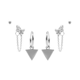 Karma Jewelry – Zesdelige Triple Triangle Earparty Set - Zilver