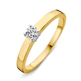 Excellent Jewelry Bicolor Ring met Kleurloze Zirkonia