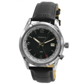 Modern Prisma Heren Horloge met Zwarte Wijzerplaat