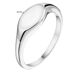 Zilveren Ovale Graveer Ring met Initiaal Letter Gravure