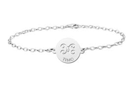 Zilveren Armband met Ronde Tweeling Sterrenbeeld Naamhanger > Names4ever