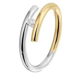 Bicolor Ring met Zilveren Kern en Losse Uiteinden met Diamant