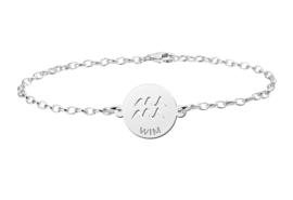 Zilveren Armband met Ronde Waterman Sterrenbeeld Naamhanger > Names4ever
