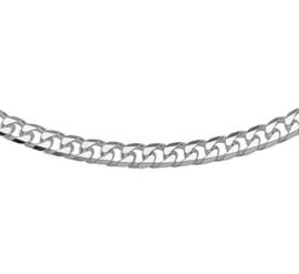 Geslepen Gourmet 5,0 mm Schakelketting van Zilver | Lengte 45 cm