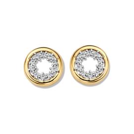 Excellent Jewelry Geelgouden Oorstekers met Zirkonia Rondje