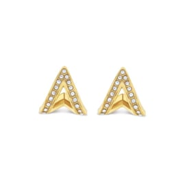 Goudkleurige A-Vormige Oorknoppen voor Dames van Tommy Hilfiger