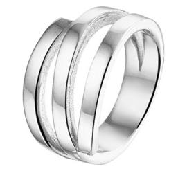 Brede Ring van Gerhodineerd Zilver met Drie Stroken Voorkant