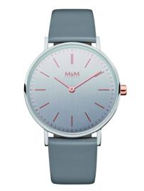 Zilverkleurig Dames Horloge met Lichtgrijs Lederen Band van M&M
