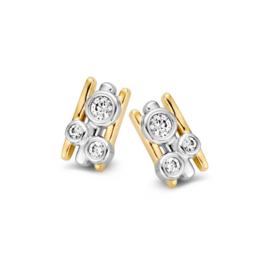 Excellent Jewelry Stijlvolle Bicolor Oorstekers met Drie Zirkonia's