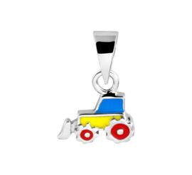 Zilveren Tractor Hanger met Emaille