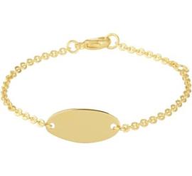 Gouden Graveer Baby- Kinderarmband plaat 8 mm 11,5 – 13 cm
