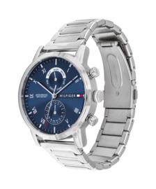 Tommy Hilfiger Zilverkleurig Heren Horloge met Blauwe Wijzerplaat