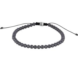 Zwarte Koord Armband met Hematiet Kralen