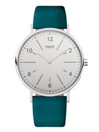 Zilverkleurig Unisex Horloge met blauwgroen Lederen Band van M&M