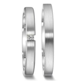 Dunne Matte Zilveren Trouwringen Set met Kleurloze Diamant