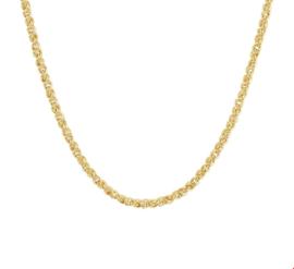 Draadschakel Collier van Goud met Zilveren Kern