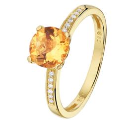 Gouden Ring met Diamanten en Citrien Edelsteen