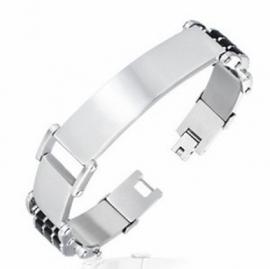 Zilverkleurige Naamplaat armband met zwart rubber
