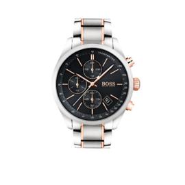 Hugo Boss Horloge Grand Prix Zilverkleurig Horloge met Zwarte Wijzerplaat van Boss