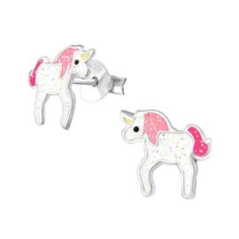 Zilveren Kinderoorbellen Unicorn met Glitters