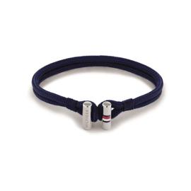 Tommy Hilfiger Donkerblauwe Nylon Armband met Edelstalen Sluiting voor Heren