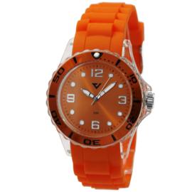 Prisma Oranje Dames Horloge met Kunststof Horlogeband