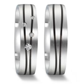 Matte Zilveren Trouwringen Set met Carbon Lijnen en Diamanten