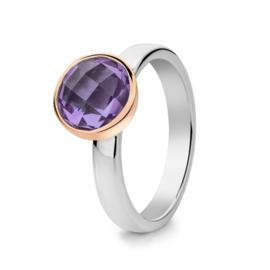 Excellent Jewelry Zilveren Ring met Roségouden Rondje en Paarse Amethist