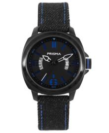 Prisma Jongens Horloge met Zwarte Horlogeband en Blauw Stiksel