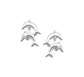 Dubbele Dolfijn Oorknoppen van Zilver