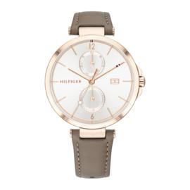 Tommy Hilfiger Roségoudkleurig Dames Horloge met Bruin Leder