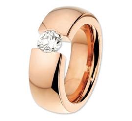 Roségoudkleurige Stalen Dames Ring met Zirkonia | Graveer Ring