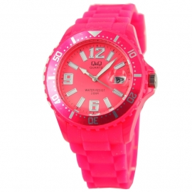 Roze horloge met datum / Q&Q Horloge by Citizen