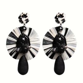 Fashion Oorbellen met Zwarte Strass Steentjes en Textiel