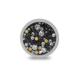 LOCKits Zilverkleurige Munt met Witte, Champagne en Zwarte Zirkonia's 25mm