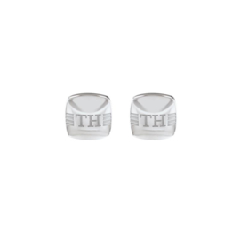 Vierkante Manchetknopen van Edelstaal met Logo van Tommy Hilfiger