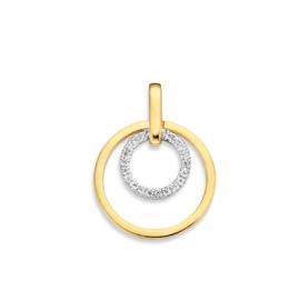 Excellent Jewelry Opengewerkte Bicolor Cirkel Hanger met Zirkonia's