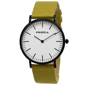 Slimline Zwart Heren Horloge met Gele Horlogeband