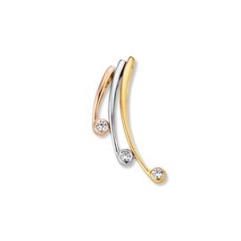 Excellent Jewelry Tricolor Hanger met Drie Zirkonia's