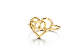 Geelgouden Hart Initiaal Ring van Nomelli