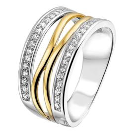 Excellent Jewelry Dames Ring van Zilver met Goud en Zirkonia's